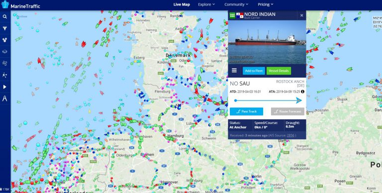 Capture d'écran © Marinetraffic.com